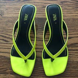 Zara Fluorescent Yellow Kitten Heel Sandals